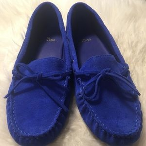 J Crew suede driving moccasins size 9 sapphire